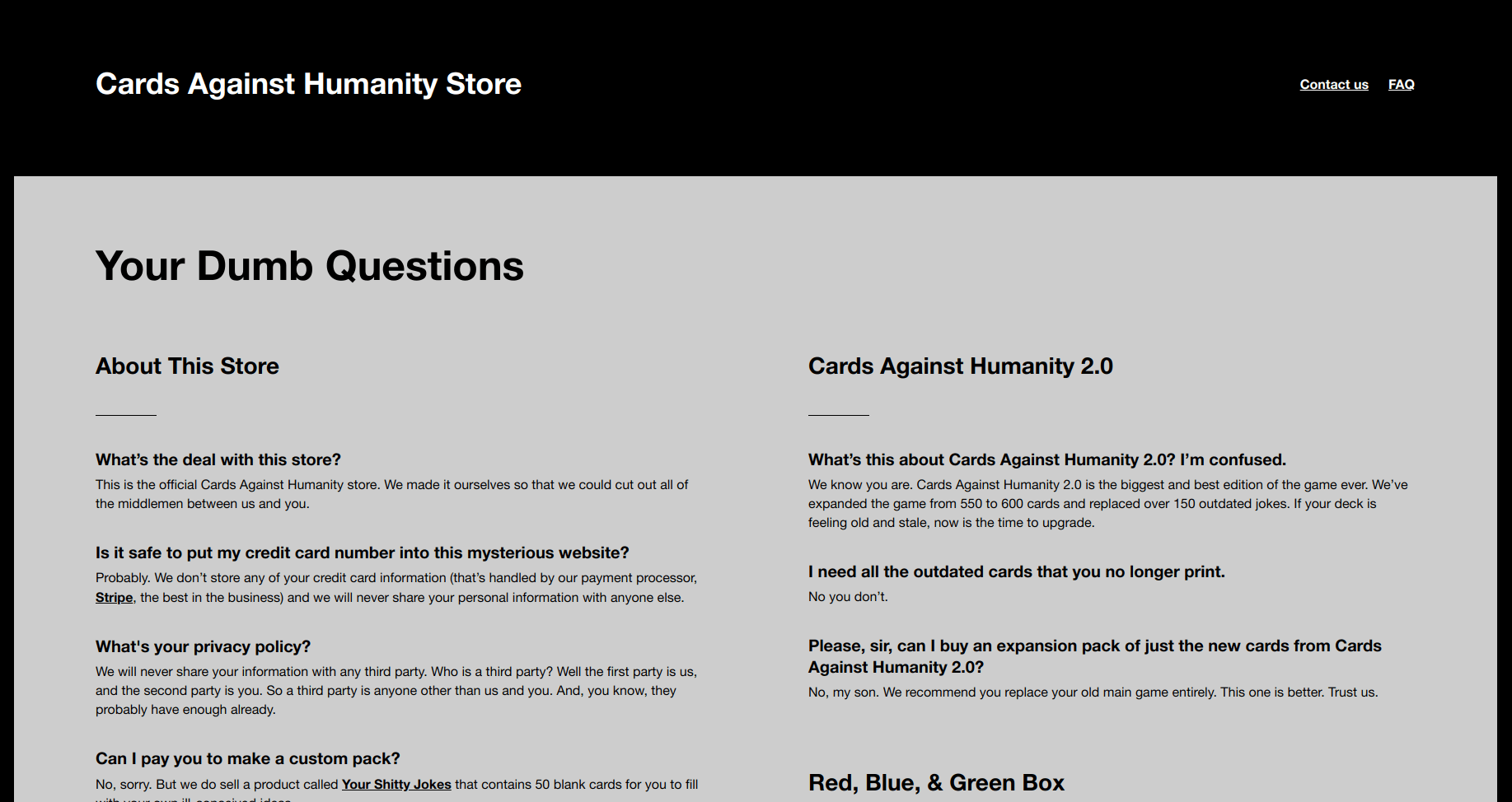 Cards against humanity help center design