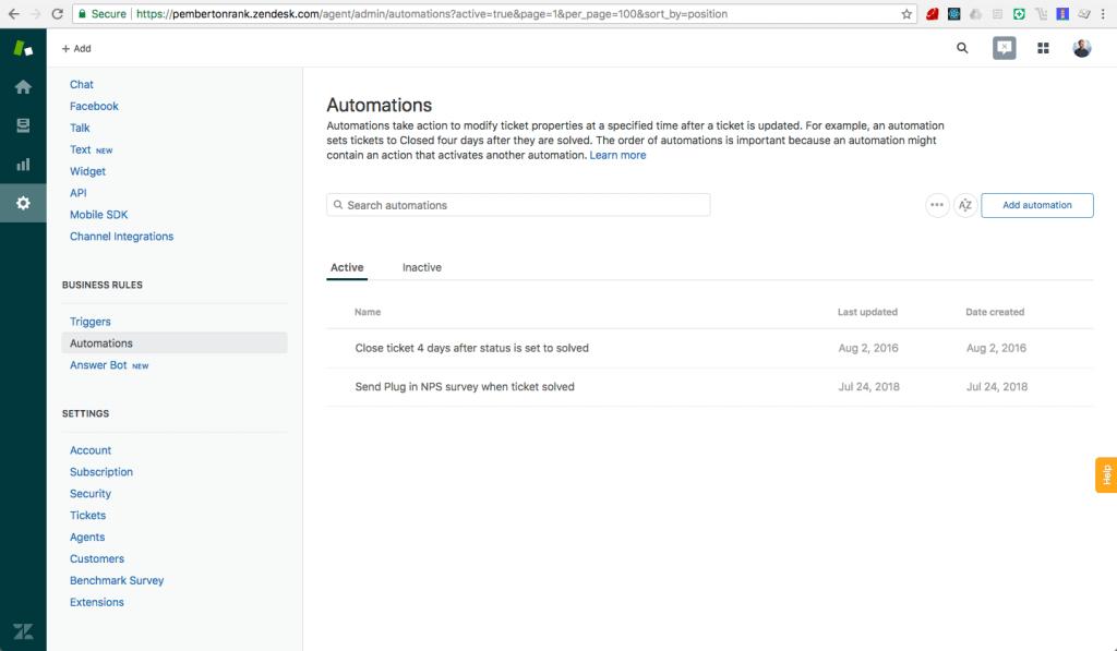 Zendesk nps automation