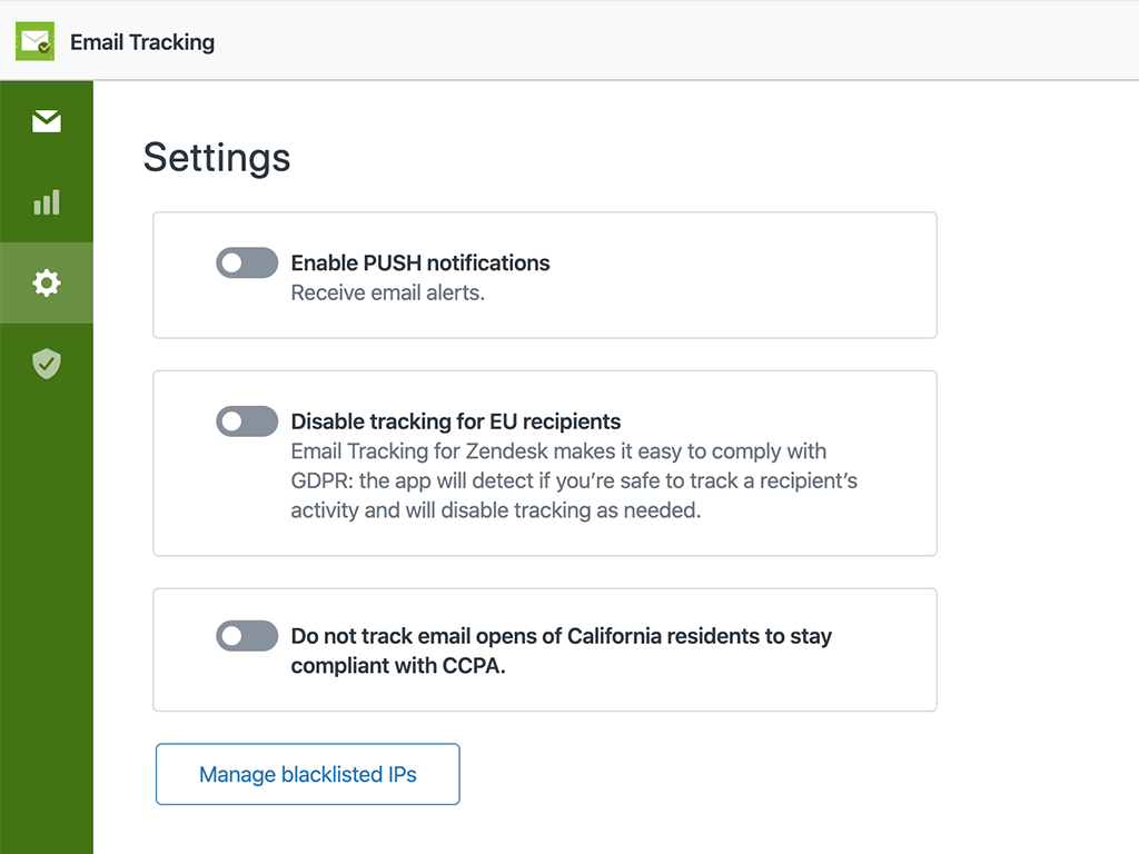 Zendesk Email Tracking GDPR CCPA