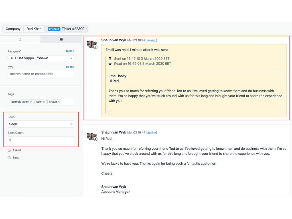 Zendesk Email Tracking Seen