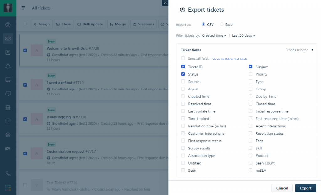 Create an export file in Freshdesk