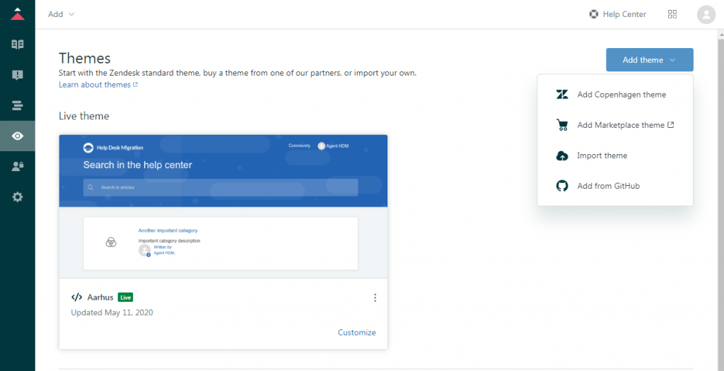 Add new theme to Zendesk Guide