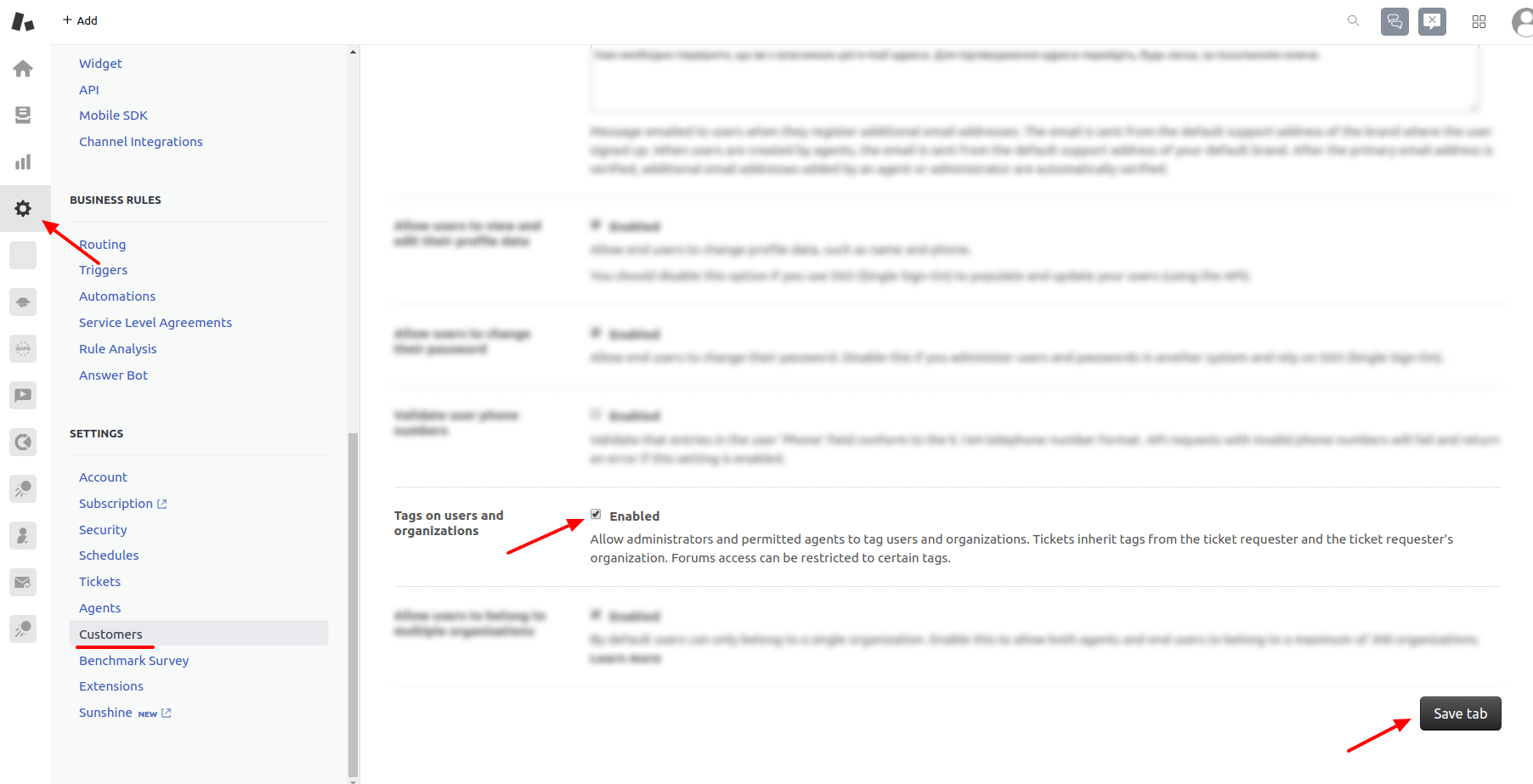 Enable user and orgaization tagging Zendesk