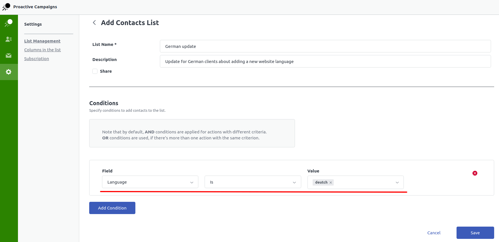 Custom user fields for contact filtering
