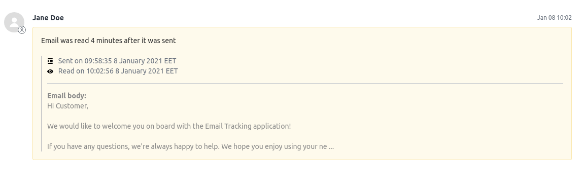 Email tracking ticket view