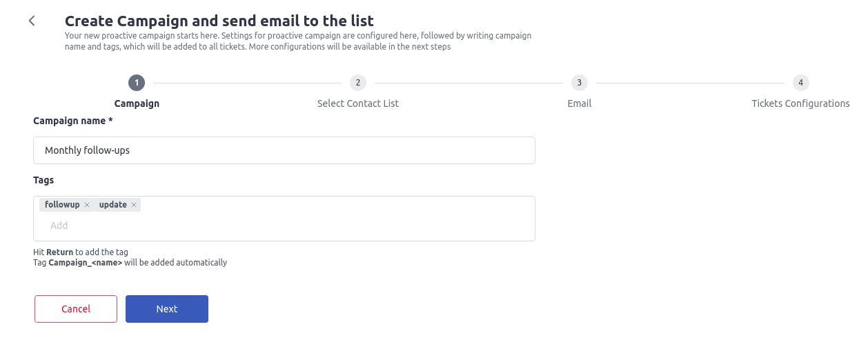 Create campaign - step 1