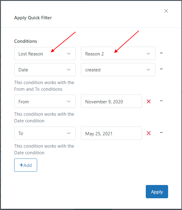 CRM And Deals For Zendesk Quick Filter
