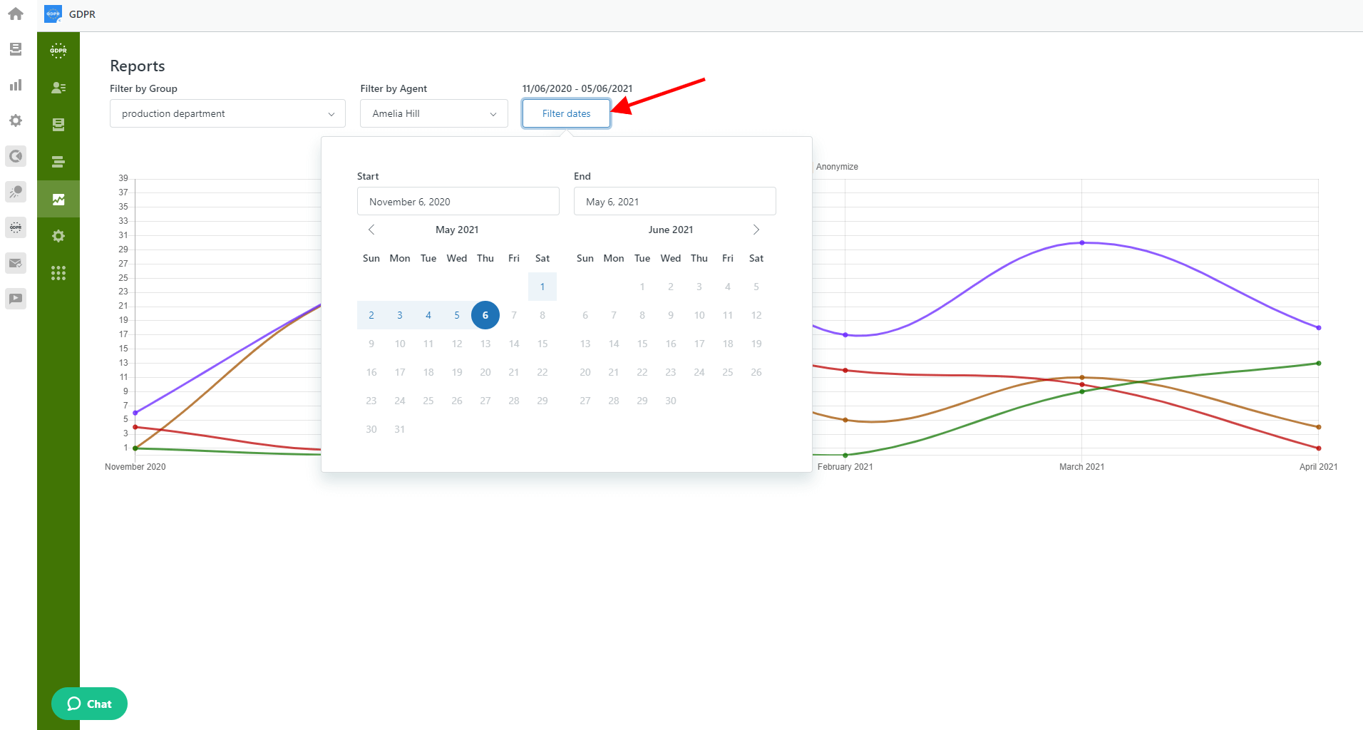 Reports Page In GDPR Compliance Filter Dates