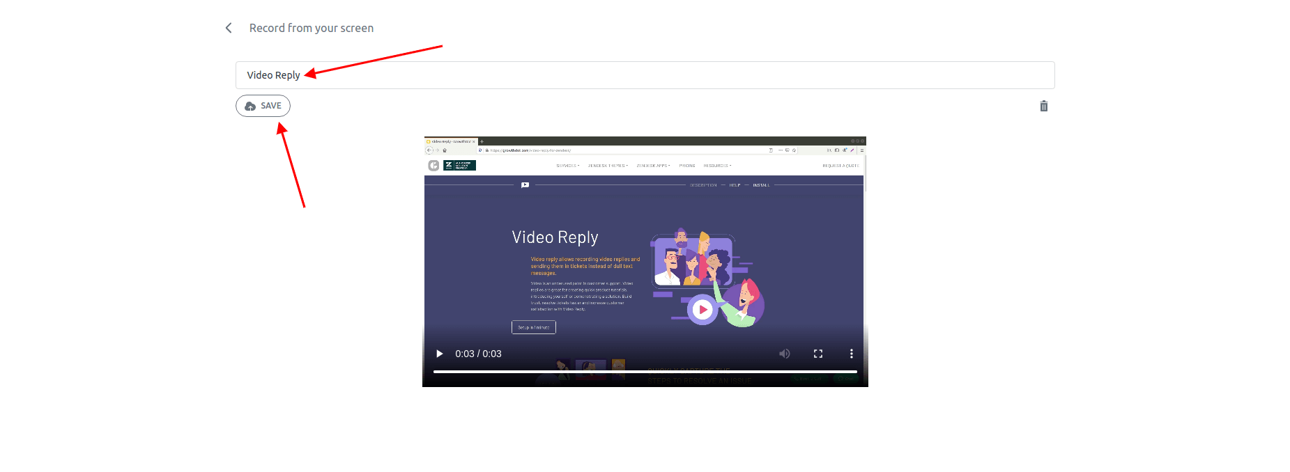 Video Reply For Zendesk Save