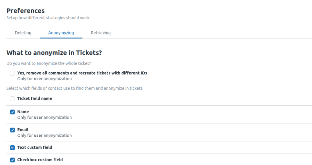 Ticket List Anonymizing Preferences