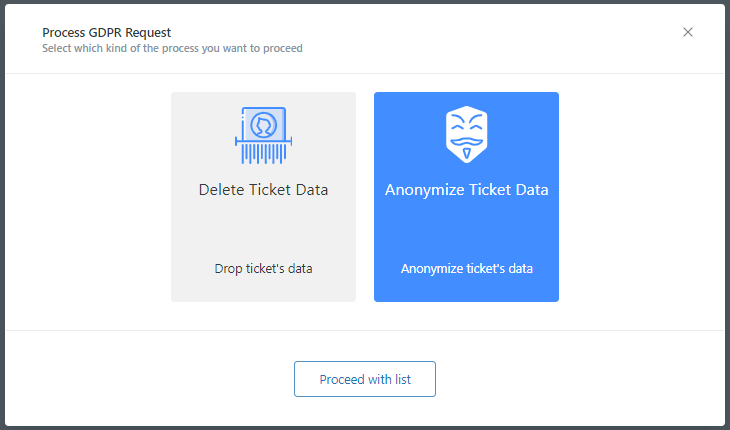 Ticket List Anonymizing Proceed